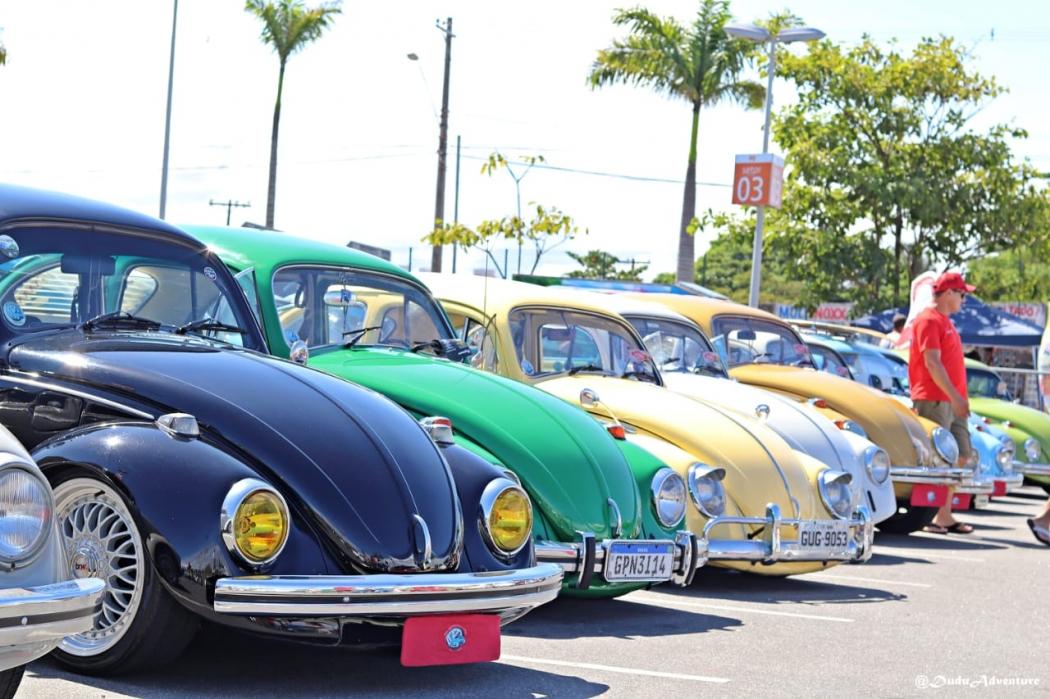 Veículos expostos no Encontro Anual de Fuscas e Derivados, realizado no Espírito Santo. Em 2019, ele acontece no Boulevard Vila Velha. Crédito: Conrado Alvin