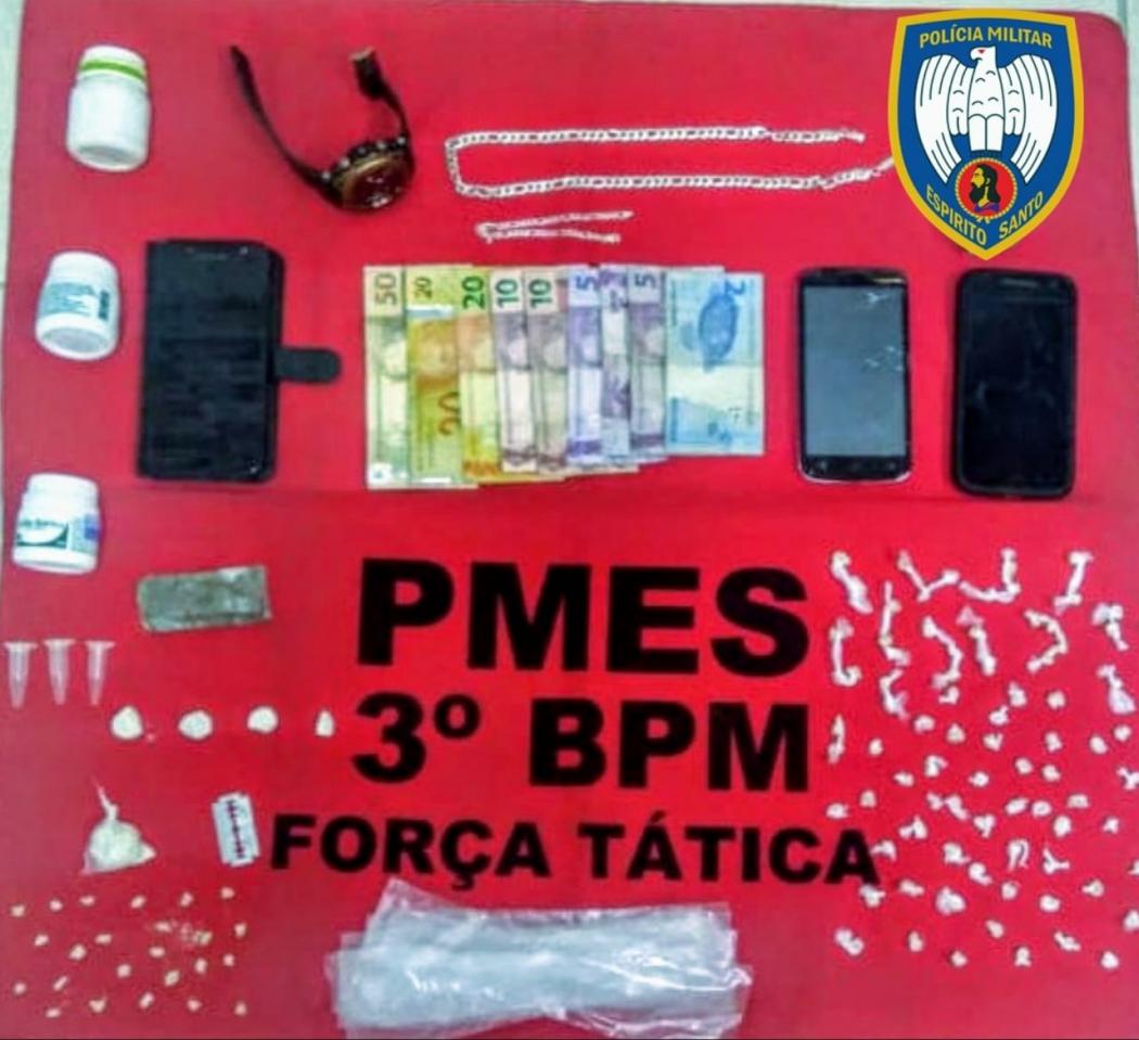 Homens são presos com envolvimento no tráfico de drogas em Guaçuí. Crédito: Divulgação Polícia Militar