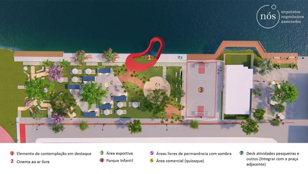 Moradores da Enseada do Suá querem praça no lugar do estacionamento do Cais das Artes. Crédito: Divulgação