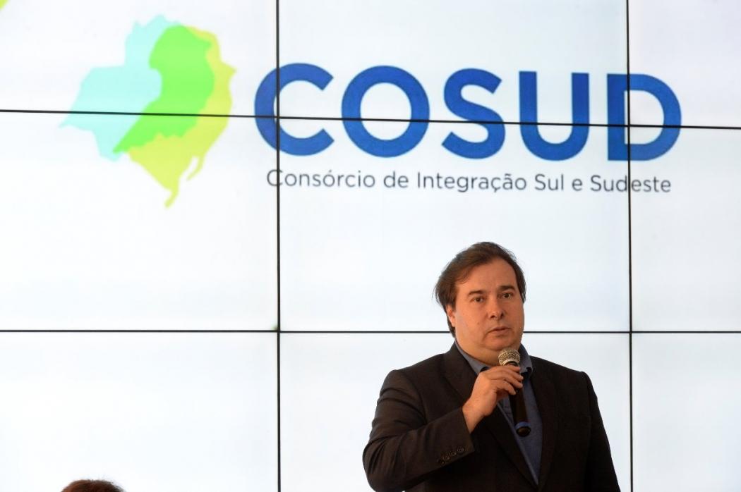 Rodrigo Maia discursa durante 4º Encontro do Cosud. Crédito: Secom/ES