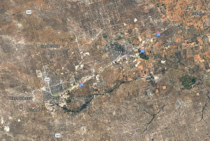 Odessa e Midland no Texas, EUA. Crédito: Reprodução/Google Maps