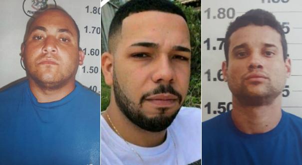 Willian Zanoli (Terceirão), Igor Mamute e Reinaldo, o Juninho, estão foragidos. Crédito: Divulgação   Polícia Civil