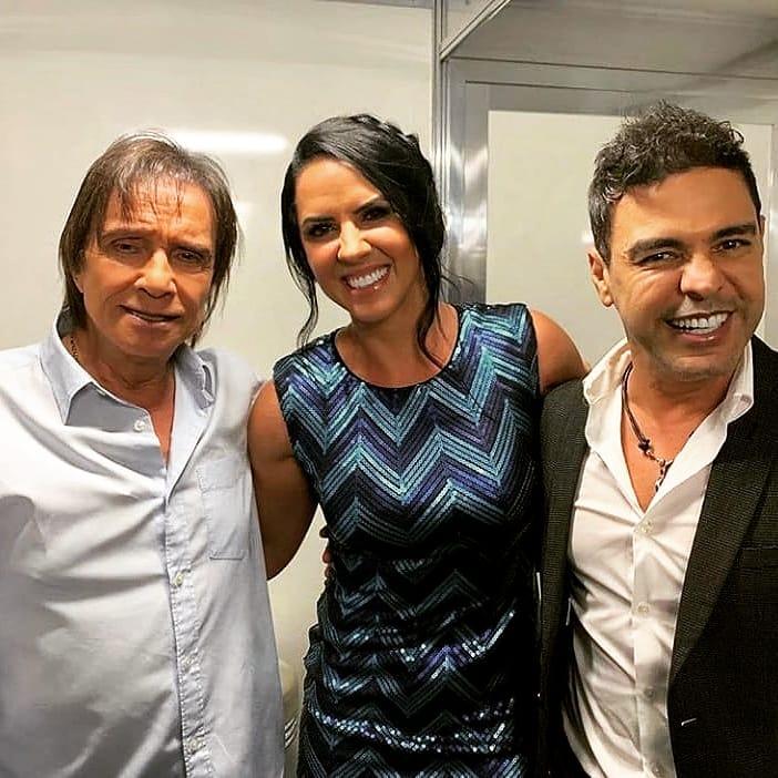 Roberto Carlos, Graciele Lacerda e Zezé Di Camargo: noite de show do Rei em São Paulo