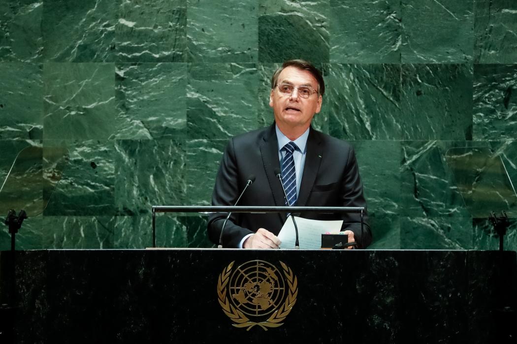 Presidente Jair Bolsonaro discursa durante a abertura do Debate Geral da 74ª Sessão da Assembleia Geral da ONU. Crédito: Alan Santos/PR