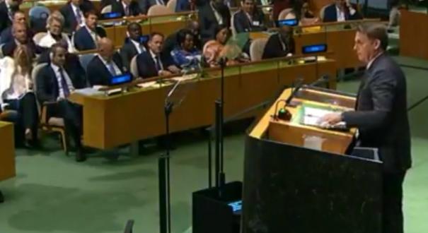 O presidente Jair Bolsonaro discursa na 74ª Assembleia Geral da ONU, em Nova York. Crédito: Reprodução | TV Brasil