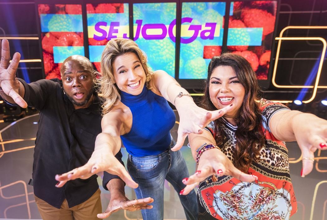 "Érico Brás, Fernanda Gentil e Fabiana Karla: apresentadores do ""Se Joga"", novo programa da Globo. Crédito: Globo/Victor Pollak"