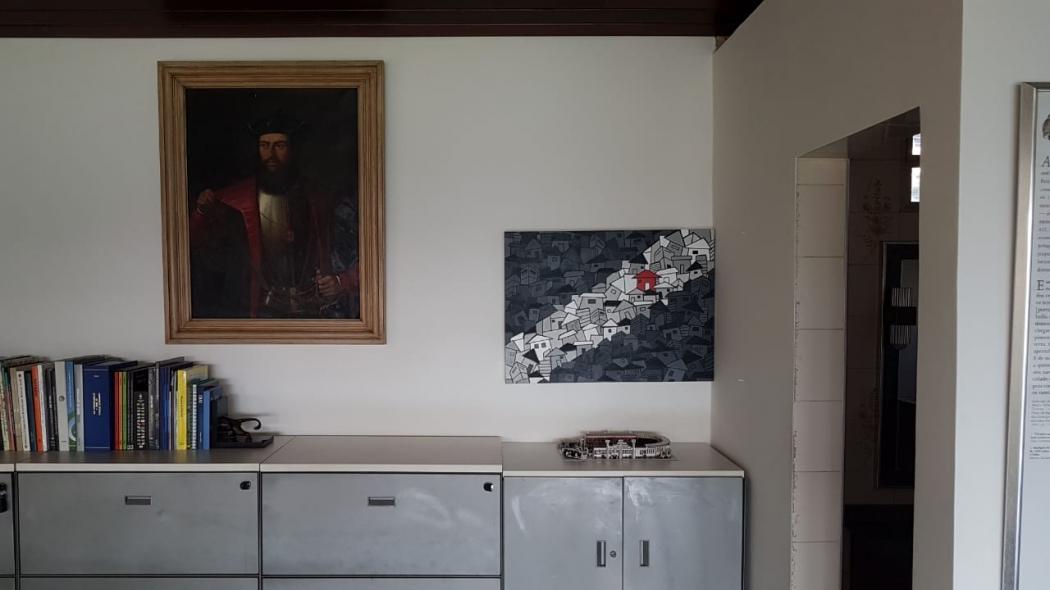A tela do artista capixaba Handerson Chic ganhou um espaço especial na sala da presidência do Vasco. Crédito: Acervo Pessoal