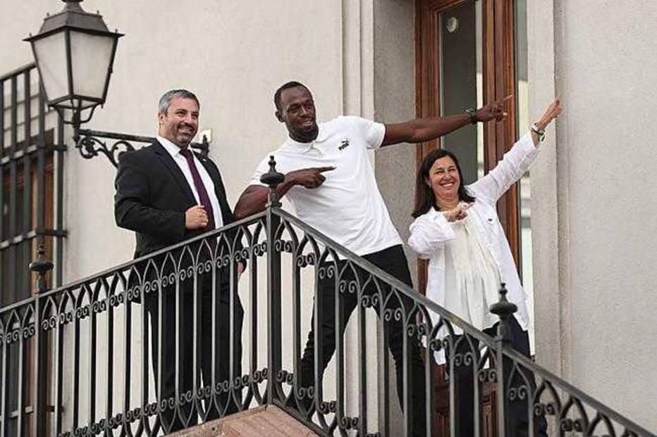 Usain Bolt em Santiago, no Chile . Crédito: Adalberto Valds/EFE