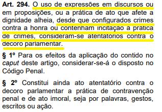 Art 294 diz que discursos que contém incitação à prática de crimes são considerados atentatórios contra o decoro parlamentar. Crédito: Reprodução